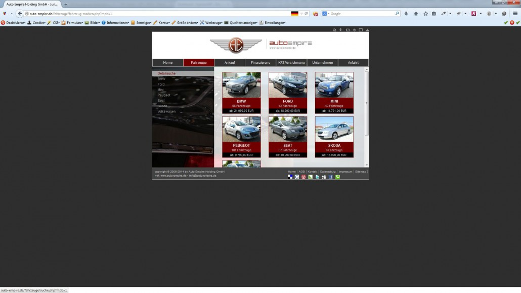 AgenturWP PHP Web-Projekt Auto Empire