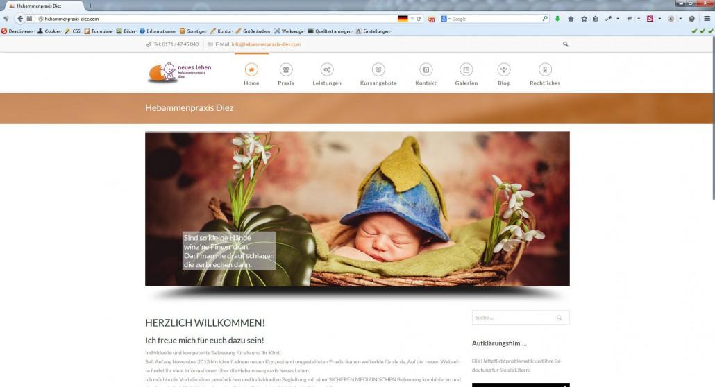 AgenturWP Webprojekt Hebammenpraxis Diez